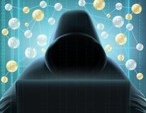 Изображение горнорабочей Cryptocurrency реалистическое стоковая фотография