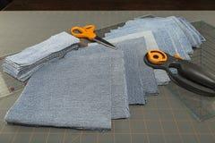 Изображение голубых заплат лоскутного одеяла джинсовой ткани Стоковые Изображения