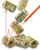 Изображение графика на конце-вверх предпосылки денег Стоковое Изображение