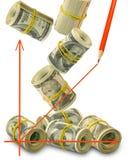 Изображение графика на крупном плане предпосылки денег Стоковое фото RF