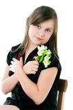 Изображение девушки с пуком цветков Стоковое Изображение RF