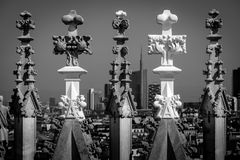 Изображение детали Duomo милана черно-белое Стоковое Изображение