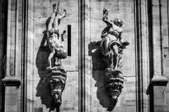 Изображение детали Duomo милана черно-белое Стоковая Фотография RF