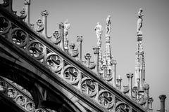 Изображение детали Duomo милана черно-белое Стоковые Изображения