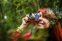 Изображение девушки с камерой Стоковая Фотография RF