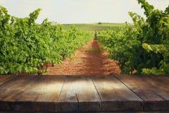 Изображение деревянного стола перед ландшафтом виноградника Стоковая Фотография