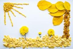 Изображение еды, цветков и листьев на белой предпосылке Стоковые Фото