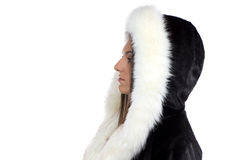 Изображение женщины в меховой шыбе Стоковые Фото
