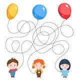 Изображение загадки ` s детей 3 дет с воздушными шарами, желтым цветом, голубой и красный, потоки смешанны Стоковые Изображения