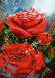 изображение запаса роз красно- Стоковые Фото