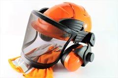 Изображение защитного шлема с перчатками Стоковая Фотография