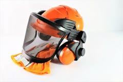 Изображение защитного шлема с перчатками Стоковые Изображения