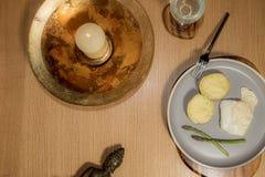 Изображение здоровой еды и духовного образа жизни плоское положенное Pescetari стоковые изображения rf