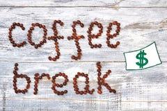 Изображение зерна и доллара кофе Стоковое Фото