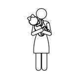 Изображение значка пиктограммы матери и ребенка Стоковые Изображения RF