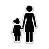 Изображение значка пиктограммы матери и ребенка Стоковое Фото