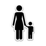 Изображение значка пиктограммы матери и ребенка Стоковая Фотография