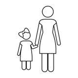 Изображение значка пиктограммы матери и ребенка Стоковое Изображение RF