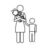 Изображение значка пиктограммы матери и ребенка Стоковые Фото