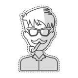 Изображение значка человека битника иллюстрация штока