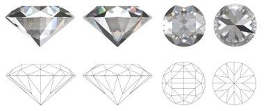 Изображение диаманта от 4 сторон с техническим чертежом створок Стоковые Изображения
