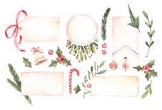 изображение иллюстрации летания клюва декоративное своя бумажная акварель ласточки части Декоративные ярлыки рождества с флористи иллюстрация штока