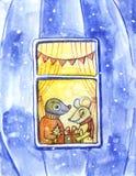изображение иллюстрации летания клюва декоративное своя бумажная акварель ласточки части Милое животное любит люди Humanized живо иллюстрация вектора