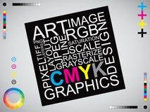 Изображение искусства дизайна писем CMYK иллюстрация вектора