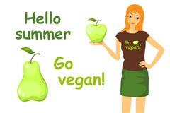 Изображение идет vegan и девушка Стоковая Фотография