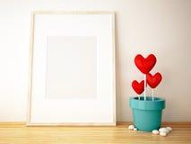 Изображение и цветочный горшок рамки Стоковая Фотография RF