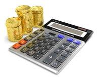 Изображение калькулятора и золота 3d иллюстрация штока