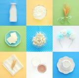Изображение коллажа взгляд сверху молочных продучтов Символы еврейского праздника - Shavuot стоковые фотографии rf