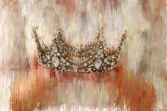 изображение конспекта стиля картины маслом дамы при белое платье держа крону золота период фантазии средневековый стоковые фото