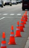 Изображение конуса движения на крупном плане дороги Стоковые Изображения RF