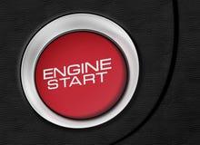 Изображение конца-вверх кнопки старта двигателя Стоковая Фотография RF