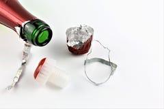Изображение концепции бутылки шампанского с космосом пробочки и экземпляра Стоковые Изображения
