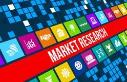 Изображение концепции изучения рыночной конъюнктуры с значками и copyspace дела Стоковая Фотография RF