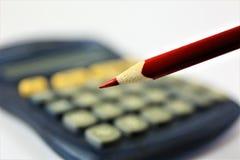 Изображение концепции калькулятора с космосом карандаша и экземпляра Стоковая Фотография
