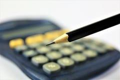Изображение концепции калькулятора с космосом карандаша и экземпляра Стоковые Фото