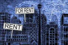 Изображение концепции недвижимости с городским горизонтом doodles backgroun Стоковое Изображение RF