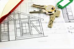 Изображение концепции плана дома и с ключом Стоковое Изображение