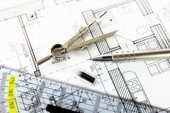 Изображение концепции плана строительства - квартиры Стоковые Изображения RF