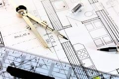 Изображение концепции плана строительства - квартиры Стоковое Фото