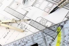 Изображение концепции плана строительства - квартиры Стоковые Фотографии RF