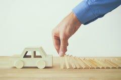 Изображение концепции предохранения от автомобиля страхование и безопасный управлять Стоковое Изображение RF