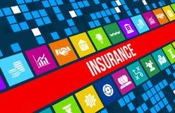 Изображение концепции страхования с значками и copyspace дела Превосходный для здоровья, автомобиля, дома, перемещения, дела и лю Стоковые Фотографии RF