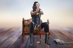 Изображение красивой девушки steampunk стоковое фото