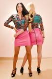 Изображение 2 красивых женщин белокурых & брюнет моды молодых сексуальных имея потеху представляя в такой же камере платья одной  Стоковая Фотография RF