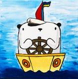 Изображение красит белый плюшевый медвежонка на шлюпке Стоковые Фото