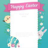 Изображение кролика и цыпленока смотрит вне от за квадратной рамки с openwork краями Эмблема с цветками и Стоковые Изображения